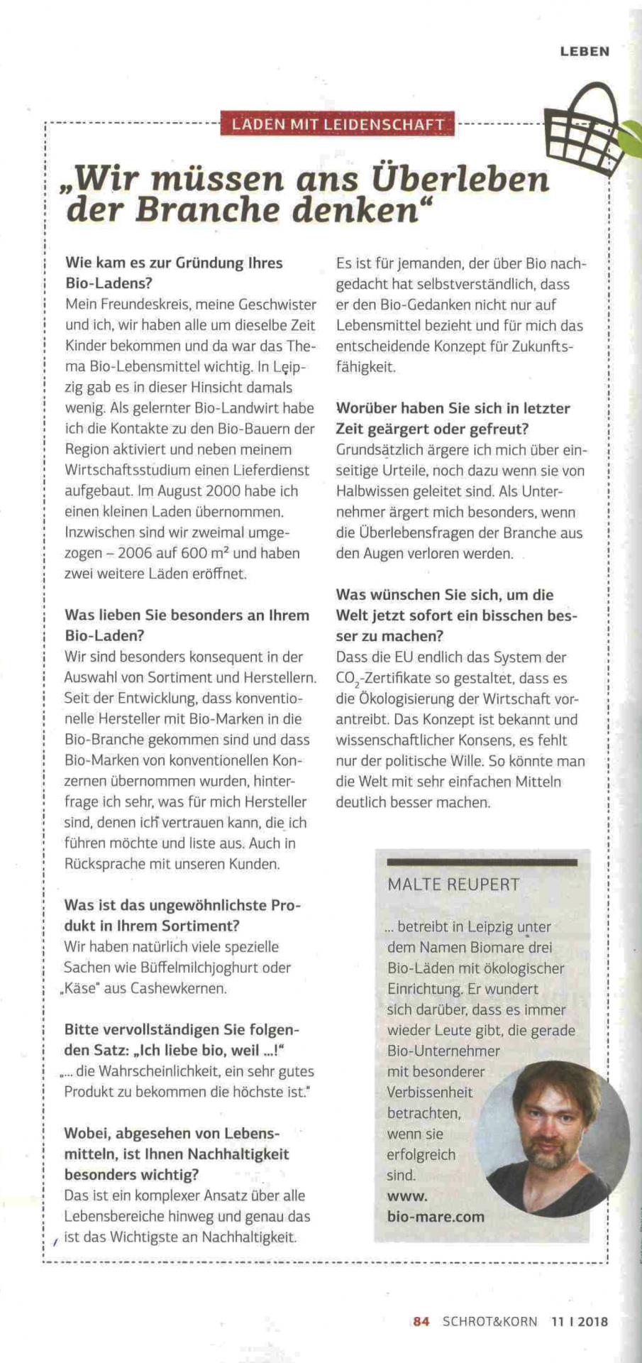 Interview, Biomare, Malte Reupert, Schrot und Korn